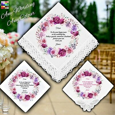 Mother of the Groom Personalised Handkerchief Favour Gift Wreath Flowers Hankie