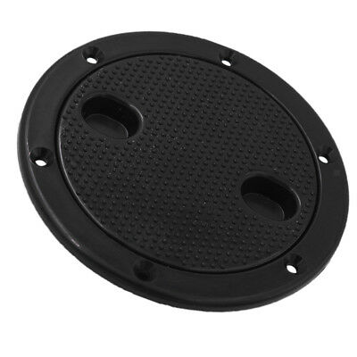 """Marine Boat RV Black 4""""&6"""" Access Hatch Cover Twist Screw Out Deck Plate"""