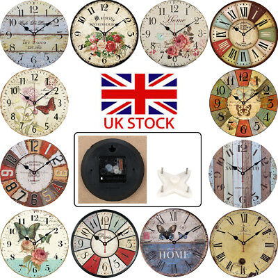 Antique Style Vintage Wooden Wall Clocks Shabby Chic Large Rustic Home 14 Inches