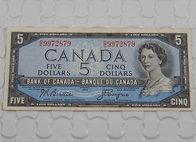 Bank of Canada Series 1954 $5 Five Dollar Higher Grade Note P0020