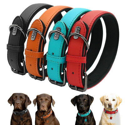 Leather Dog Collar Soft Padded for Small Large Dog Schnauzer Husky Red Black S-L