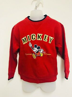 Vintage Walt Disney World Sweatshirt Sweater Mickey Childs Kids Red