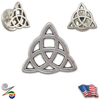 Triquetra Trinity Pagan Celtic Tribal Druid Viking Wicca Witch Lapel Hat Tie Pin