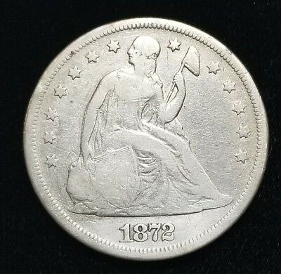 1872 Seated Liberty $1 Dollar Silver Coin +SLOD4