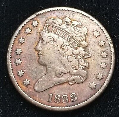 1833 Half Cent Classic Head United States Coin +HC340H