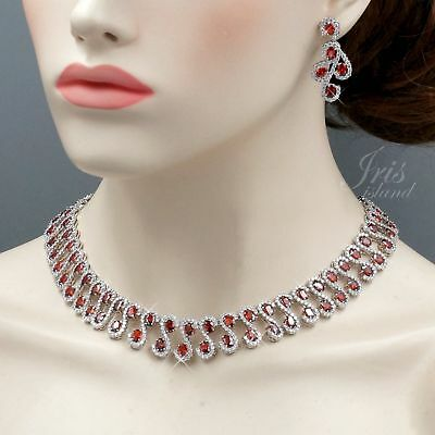 White Gold Plated Red Cubic Zirconia Necklace Earrings Wedding Jewelry Set 02368