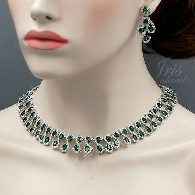 White Gold Plated Green Cubic Zirconia Necklace Earrings Wedding Jewelry Set 380