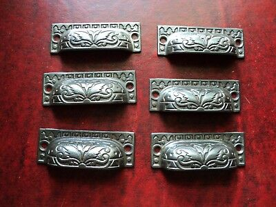 vintage cast iron desk dresser drawer cup pull handles victorian style 6 in lot