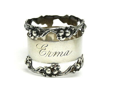 "Antique ""Erma"" NATIONAL SILVER CO NSCo NAPKIN RING Sterling Silver Holder #7"