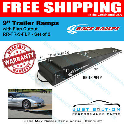 """Race Ramps 9"""" Trailer Ramps 5.5 Degrees Approach Angle (Set of 2) RR-TR-9-FLP"""