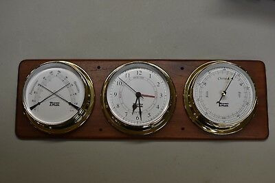 3 Weems & Plath Brass 125 Instruments - Barometer, Comfortmeter, Tide & Time