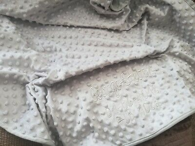 Grey Dimple Super Luxury Soft Baby Blanket Embroidered Personalised Name