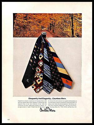 1976 Countess Mara Ties Vintage PRINT AD Silk Elegance Collection Autumn Forest