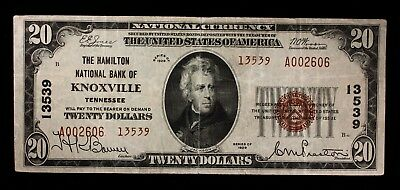 1929 $20 National Currency The Hamilton National Bank of KNOXVILLE TENNESSEE