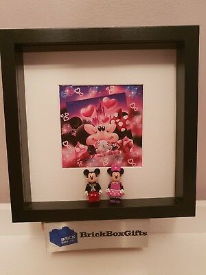 Disney Lego 3d Frame Mickey Minnie Mouse Present Gift Love Castle