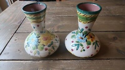 Pair of Vintage Dipinto A Mano Flowers Terracota Hand Painted Vases 6""