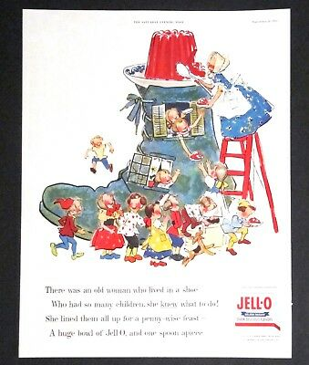 1955 JELLO Advertisement Old Woman Who Lived In A Shoe Nursery Rhyme Print AD