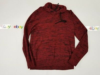 Express Womens Sweater Top Red Black Pull Over Mock Turtleneck