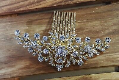 Luxury Bridal Gold Plated  Crystal Hair Comb