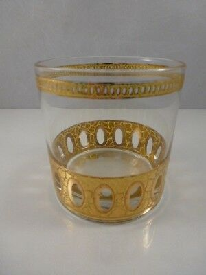 """Vintage Midcentury Culver """"antigua"""" Gold Gilt Double Old Fashioned Rocks Glass"""