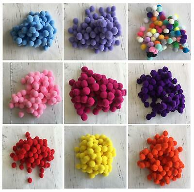 100 Small Tiny Mini 1 cm 10 mm Pom Poms DIY Craft Pompom Assorted  Decorations