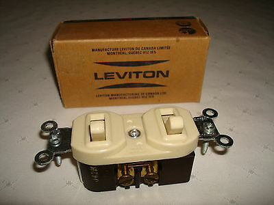 Vintage Leviton Bakelite Ivory 2 Single Pole Quiet Toggle Switches New Old Stock