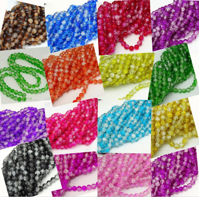 wholesale 500pcs 4mm glass Crackle Cracked Round Beads Two Tone  Crack Beads