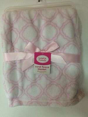 e5a3ffc6eb50 New Coral Fleece Plush Baby Blanket Luvable Friends Pink 30