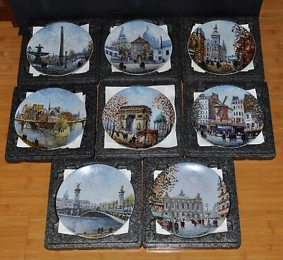 Lot of 8 Louis Dali Porcelain Limoges Scenes of France Collector Plates with COA