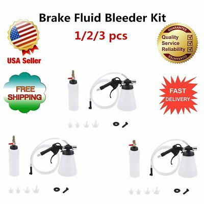 1L Brake Fluid Bleeder Kit Air Extractor Clutch Oil Bleeding Fill w/ 4AdaptersX
