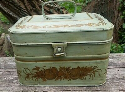 Acme Lunchbox Tole Painted Signed Green Gold Fruit Leaves Lunch Pail