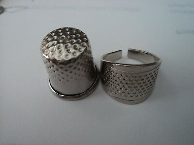 1 X Ring And 1 X Thumb Silver  Metal Thimbles,aussie Seller,fast Postage