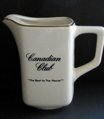 """Canadian Club Ceramic Ivory Water Pitcher Gold Trim """" The Best In The House """" EV"""