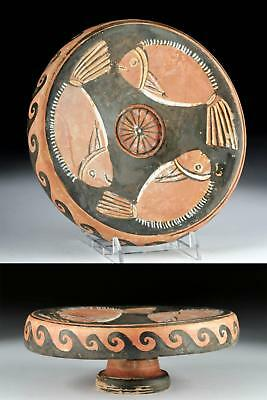 Greek Campanian Pottery Red-Figure Pedestal Fish Plate Lot 30A