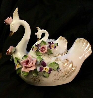 Vintage Lefton China Swan on Swan Figurines with Pink Roses ~ Very Unique!