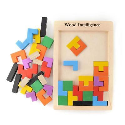 Colorful Wooden Tangram Brain Teaser Puzzle Toys Game Preschool Educational Kids