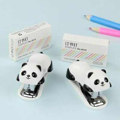 Novel Staple Manual Mini Panda Stapler Paper Binding Binder Stationery Office