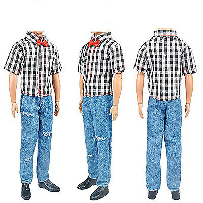 3Set Boy Black Plaid Shirt Doll Clothes Jeans Trousers Shoes For Doll.Kit~