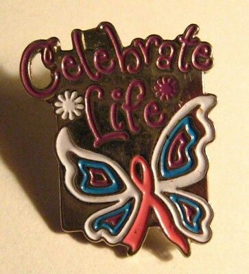 Celebrate Life Lapel Pin - Pink Ribbon Butterfly Cancer Awareness Inspiration