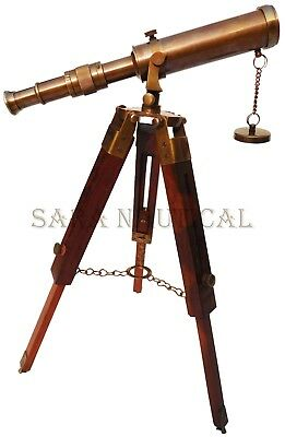 Antique Brass Telescope With Wooden Tripod Stand Collectible Desk Decor
