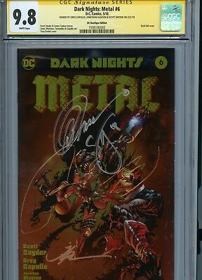 Dark Nights: Metal #6 Gold Foil Variant Cover Cgc 9.8 Ss Triple Signed Awesome