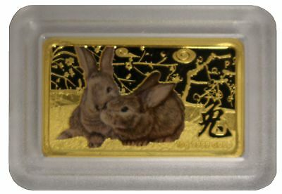 2011 Year of the Rabbit 10g .9999 Rectangular Gold Proof Coin - Lunar Series -PM