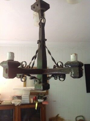 Vintage Oak Light Fitting..Gothic Style..Large four branch.