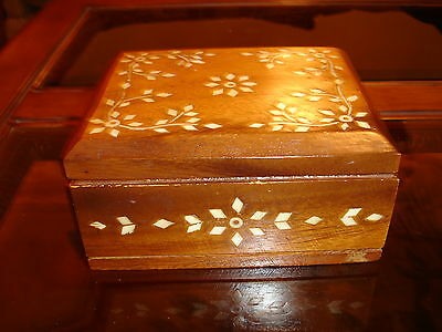 Vintage Solid Wood Small  Box, Inlaid Design, Red Velvet Lined