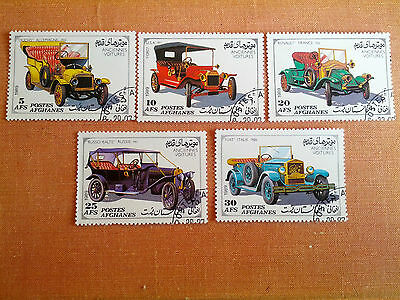 """Afghanistan 1989  """"Vintage Cars""""  5 Cancelled Stamps with Gum"""