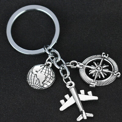 Love Travel Charm Airplane Globe Compass keyring Gift Keychain Key Chain Ring