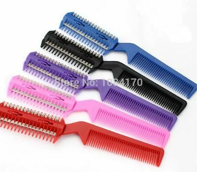 12pcs 4 Color Razor Comb Hair Cutter Thinning 2 Blades Trimmer Barber Remover