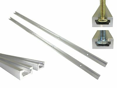 """Lot 2 Each 24"""" Aluminum T Track 3/4"""" by 3/8"""" Slot, Accepts 1/4"""" Hex Bolts... New"""
