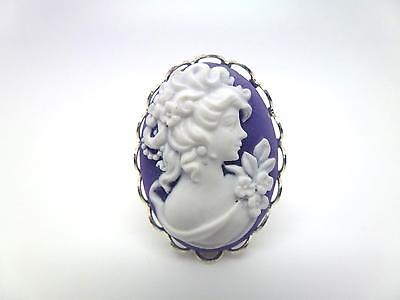 Purple & White Victorian Lady Floral Cameo Adjustable Lace Edge Silver Ring