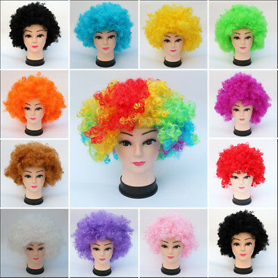Clown Wig Curly Hair Afro Multi Color 80s 70s Curly Party Clown Funky Disco Kids
